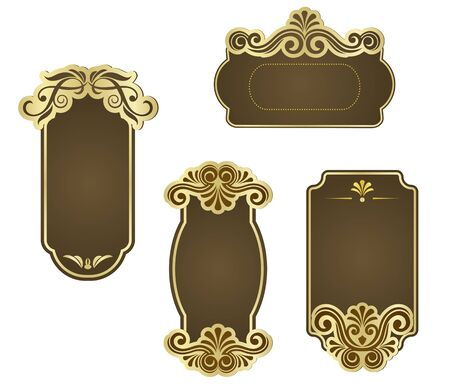 Set of retro frames for wedding templates Vector