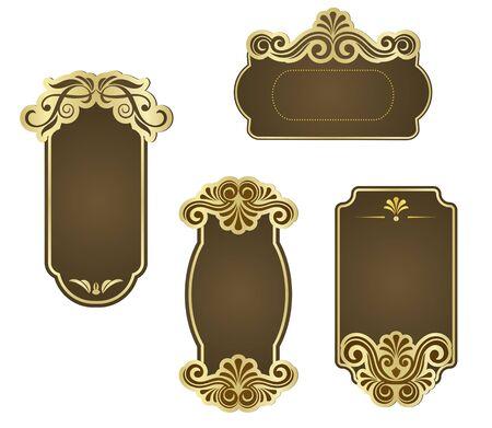 Set of retro frames for wedding templates Vector