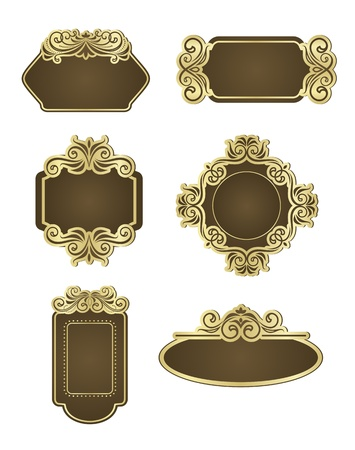 Set of retro frames for wedding templates Stock Vector - 12792773