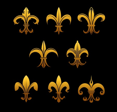 french symbol: Set of golden royal lilies for embellishment