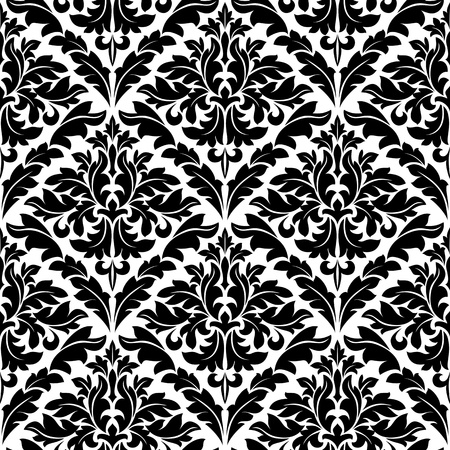 Monochrome damask seamless pattern for background design Vector