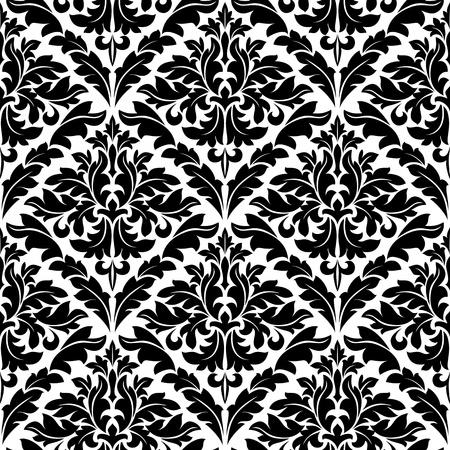 Monochrome damask seamless pattern for background design Vector