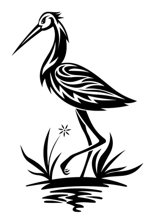 black stork: Heron bird on the pond and cane for environment design