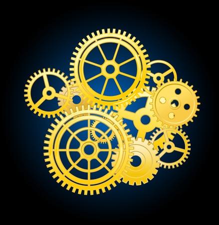 mecanica industrial: Clockwork elementos del mecanismo de engranajes para el diseño de concepto de tiempo Vectores
