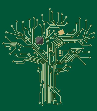 Moederbord boom op groene achtergrond voor technologisch concept ontwerp