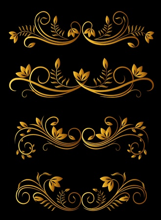 embellishments: Golden floral elements of design for ornate ad decorate