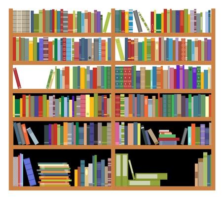 buchhandlung: B�cherregal mit alten und modernen B�cher auf wei�em Design f�r Bildung isoliert Illustration