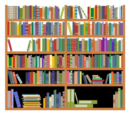 Bookshelf with ancient and modern books isolated on white for education design Vector