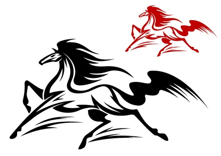 horse stable: Fast running stallion for tattoo or equestrian sports design