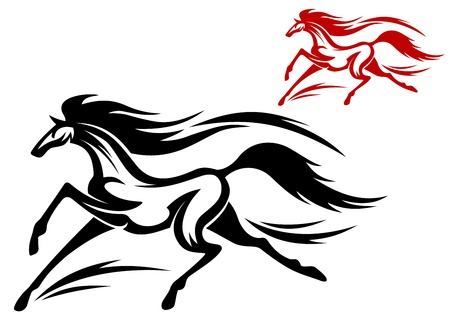 equestrian sport: Fast running horse in vector for tattoo or mascot design Illustration