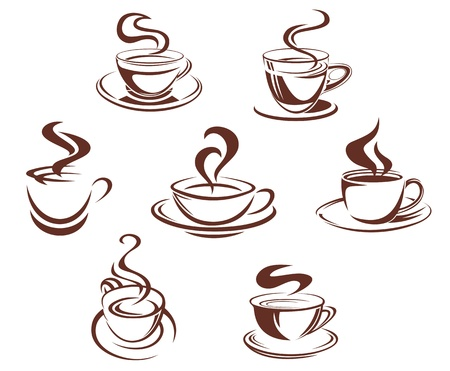 Coffee and tea cups symbols for beverage design Vector