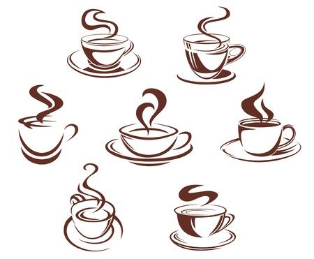 Kaffee-und Teetassen Symbole für die Getränke-Design