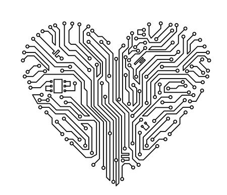 fiestas electronicas: Equipo del corazón con elementos de la placa base para el diseño de concepto de tecnología