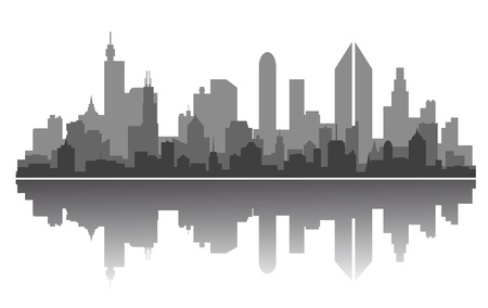 horizon reflection: Modern city skyline for business or architecture concept design