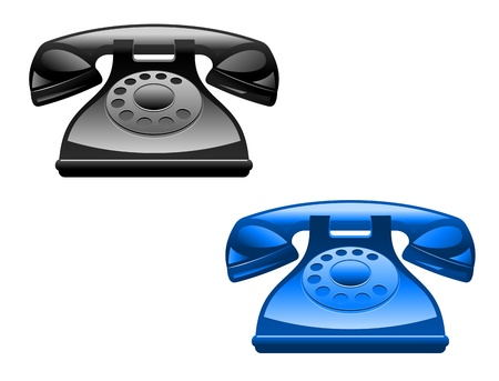 Retro glossy telephone icons isolated on white background Stock Vector - 12792763