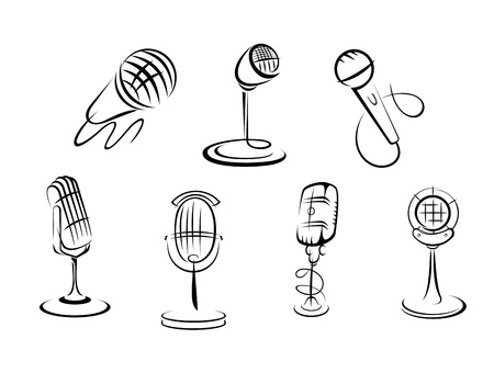 mic: Retro microphones sketches set for art and musical design