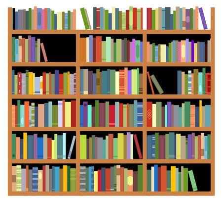 Bookshelf with books isolated on white background for education or interior design Stock Vector - 13009536