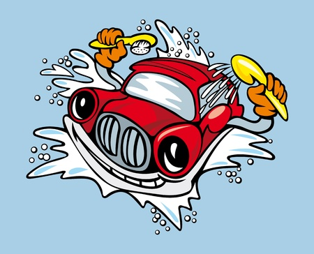 Cartoon car with sponge and shampoo for cleaning and washing service design Vector