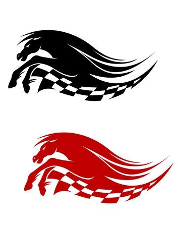 thoroughbred horse: S�mbolo de caballos para las carreras de dise�o deportivo aisladas sobre fondo blanco