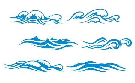 surf silhouettes: Wave symbols set for design isolated on white background