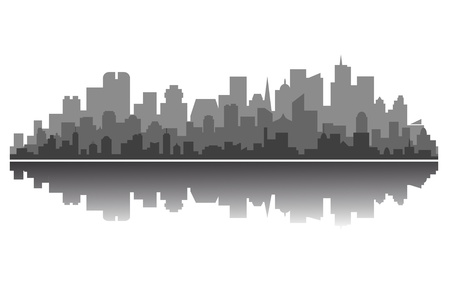 Silhouette of modern city downtown for business concept design Vector