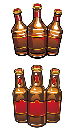 Beer bottles isolated on white background for beverage design Vector