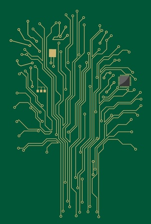 Computer motherboard tree for modern technology concept design Vector