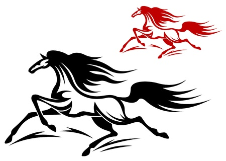 Two running horse mascots, red and black,isolated on white background Vector