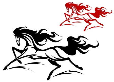 Two running horse tattoos isolated on white background Vector