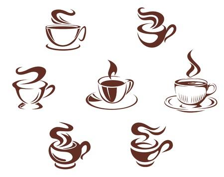 coffee beans: Koffie kopjes en mokken symbolen op witte achtergrond Stock Illustratie