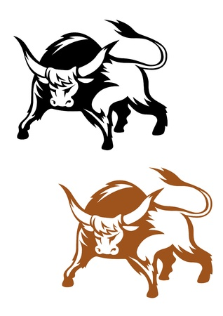 domination: Wild buffalo bull in cartoon style for mascot and emblem design