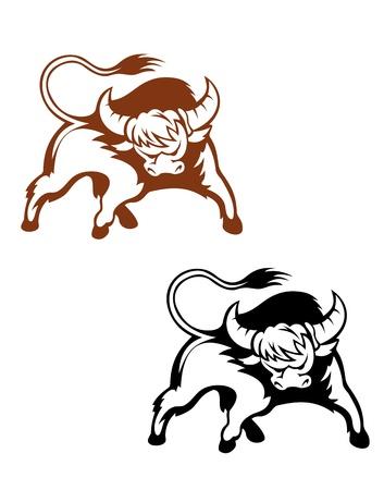 corrida de toros: Búfalo salvaje para el diseño de la mascota y el emblema aislado sobre fondo blanco Vectores