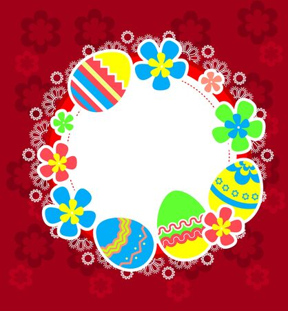 Easter frame with eggs and flower blossoms Vector