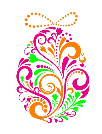 Easter egg ornament in floral style for holiday design Vector