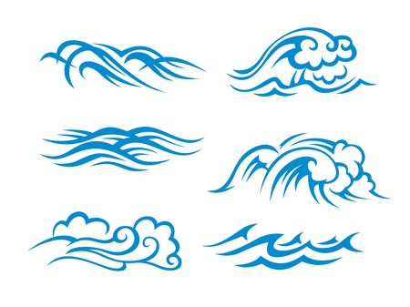 tides: Sea and ocean surf waves set for design