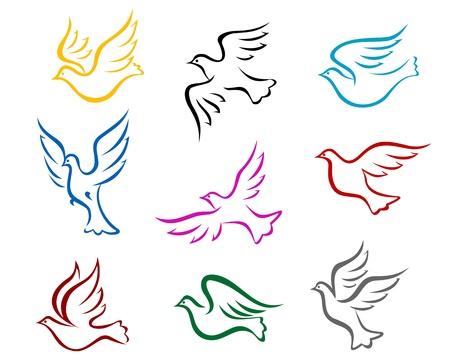 pigeons: Les pigeons et les colombes jeu de symboles pour la paix ou de la conception notion de mariage