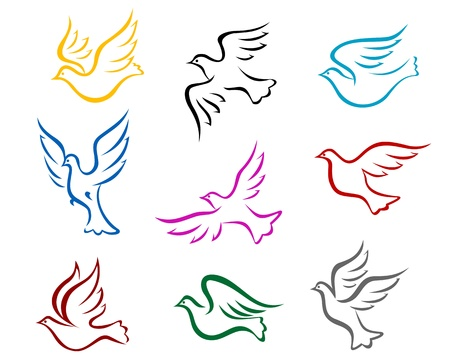 Pigeons and doves symbol set for peace or wedding concept design Illustration