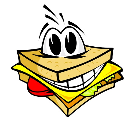Smiling sandwich with cheese, salad and meat for fast food design Vector