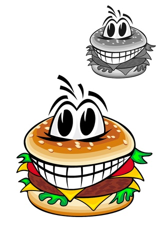 Smiling cartoon hamburger isolated on white background for fast food design