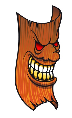 wooden mask: Angry wooden mask in cartoon style for halloween design