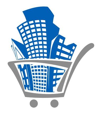 commercial real estate: Carrito de la compra de edificios para el dise�o de bienes ra�ces Vectores