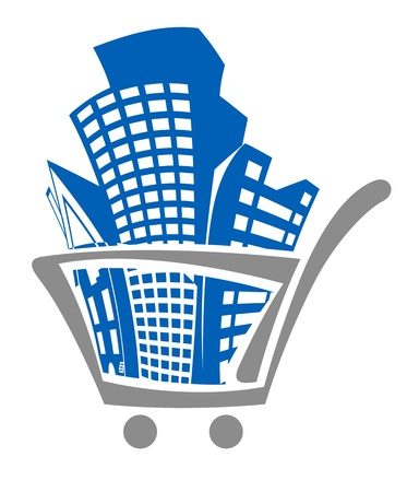 commercial architecture: Shopping cart with buildings for real estate design