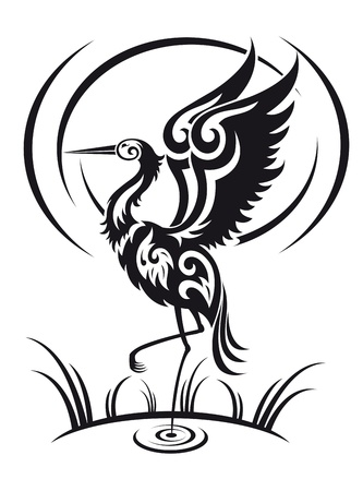 Heron bird in tribal style for environment design Vector