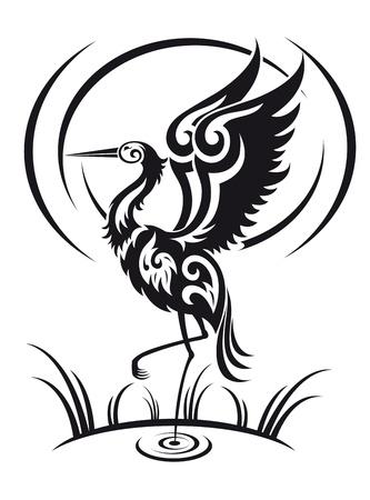 airone: Heron uccello in stile tribale per la progettazione dell'ambiente Vettoriali