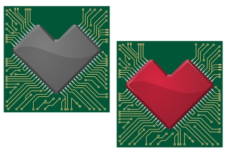 Motherboard heart chip on microcircuit background for technology concept design Vector