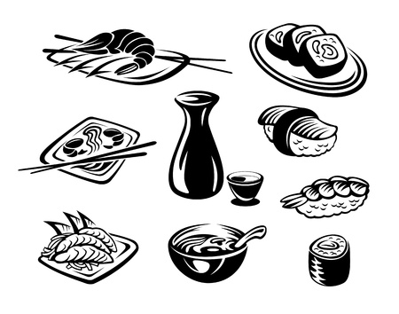 susi: Japan restaurant seafood set isolated on white background