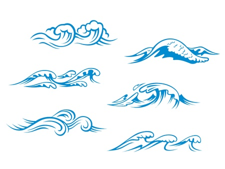 wind icon: Blue sea waves set for design in cartoon style