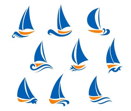 Jachting i regaty symbole jachtu sportowego projektu Ilustracje wektorowe