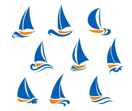 yacht race: Yachting and regatta symbols for yacht sports design Illustration