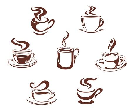 copas: Caf� y t� s�mbolos e iconos para el dise�o de las bebidas Vectores
